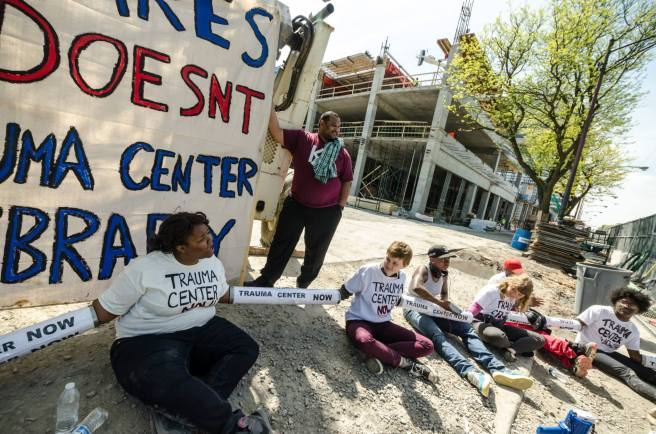 Last May, Fearless Leading by the Youth and other members of the Trauma Care Coalition staged a week of action around their demand for a South Side trauma center. (Photo: Sarah Jane Rhee)