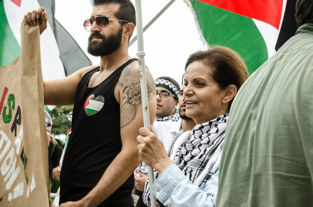 "Rasmea Oden at the ""Chicago March Against World Silence on Gaza Massacre,"" August 10, 2014. (Photo: Sarah Jane Rhee)"