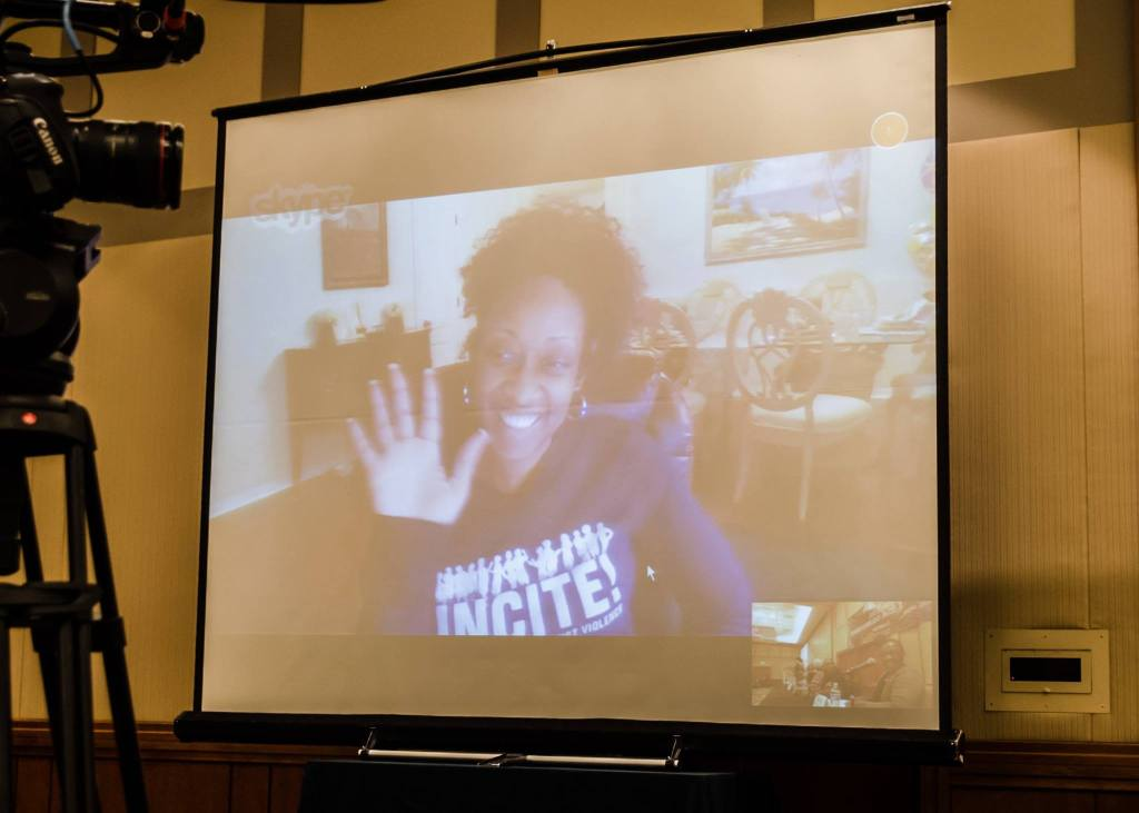 "Marissa Alexander joined the ""No Selves to Defend"" panel at Color of Violence 4 via Skype. (Photo: Sarah Jane Rhee)"
