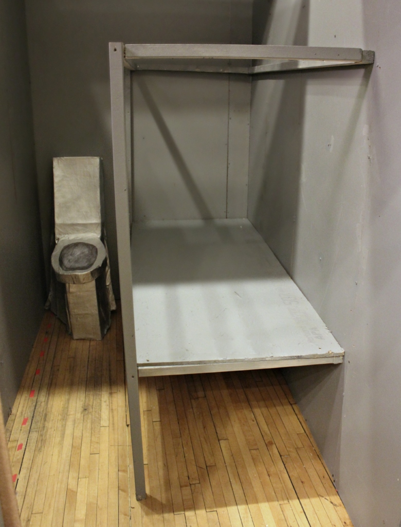 A full size model of a solitary confinement cell, constructed by the Chicago Light Brigade. (Photo: Kelly Hayes)