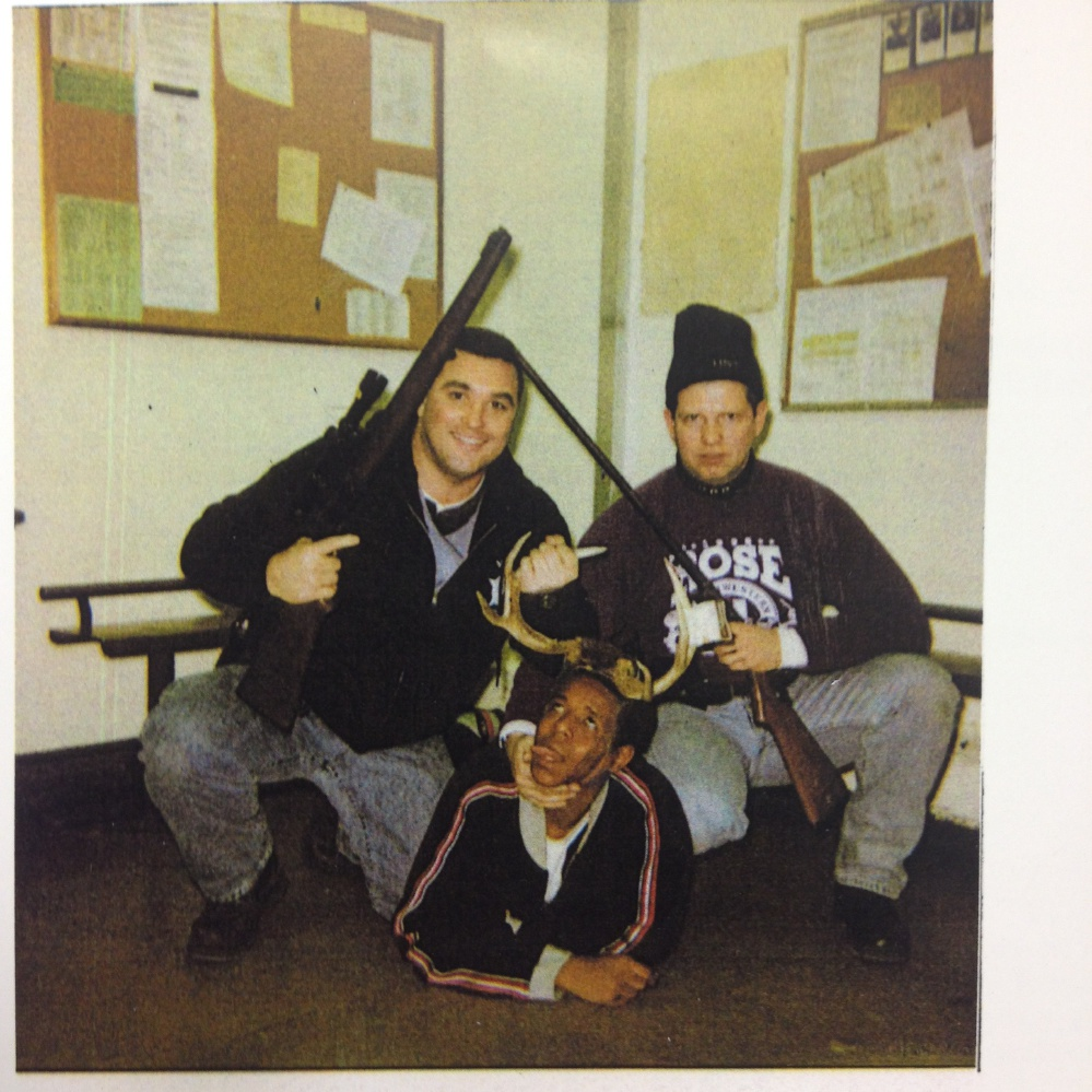 Chicago Police Officers Jerome Finnigan, left, and Timothy McDermott with an unidentified Black man they claim to have arrested for marijuana possession (there is no record of any arrest).