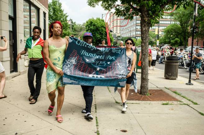 Participants march in Chicago's 2014 Dyke March. Organizers of the annual event work to create a space that is radical, inclusive, and safe for criminalized individuals. (Photo: Sarah Jane Rhee)