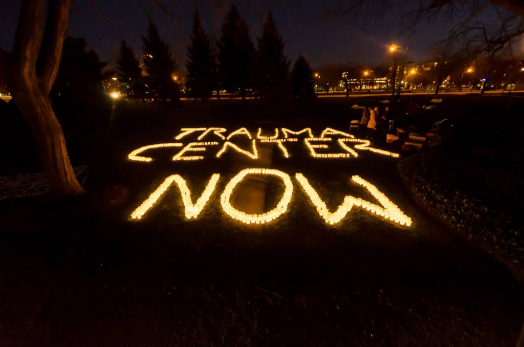 In April protestors created a massive candlelight image with the message